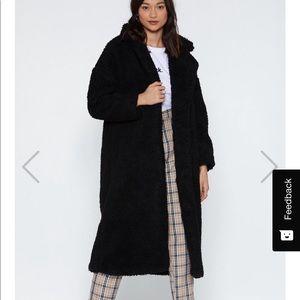 Faux Shearling Teddy Long Coat